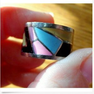 Modern Geometric Hand painted Ring sz 6 Silvertone